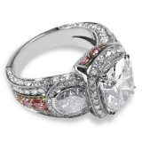 Diamond & Platinum Three Stone Ring With Pink Diamonds Set in Rose Gold