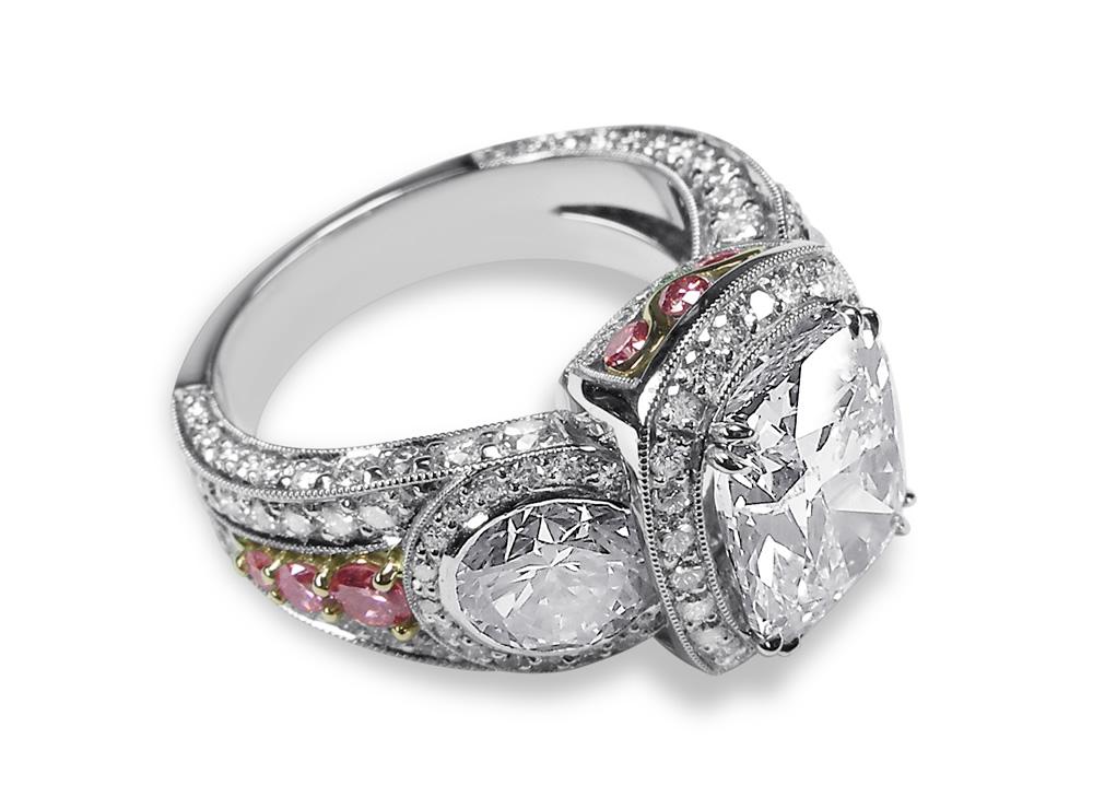 Diamond & Platinum Three Stone Ring With Pink Diamonds Set in Rose Gold Custom