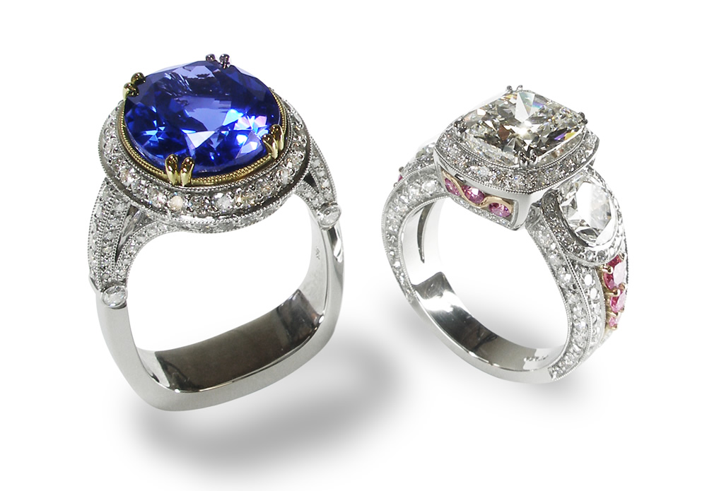 Custom Blue Sapphire Solitaire Ring & Pink Diamond Three Stone Ring