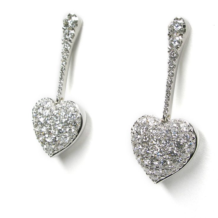 Puffed Pavé Dangle Diamond Heart Earrings