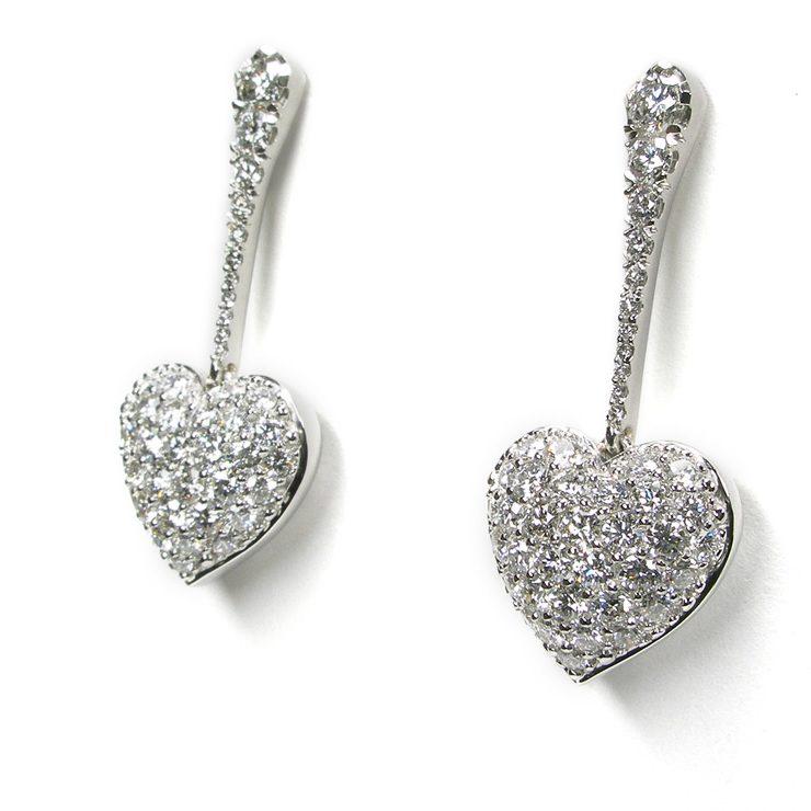 Puffed Pavé Dangle Diamond Heart Earrings