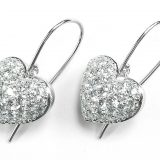 Puffed Pavé Diamond Heart Dangle Hook Earrings
