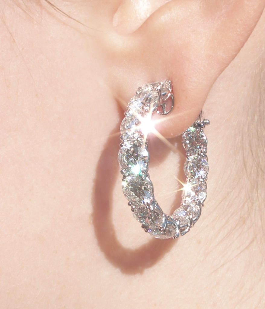 Eternity Hoop Earrings with Diamonds