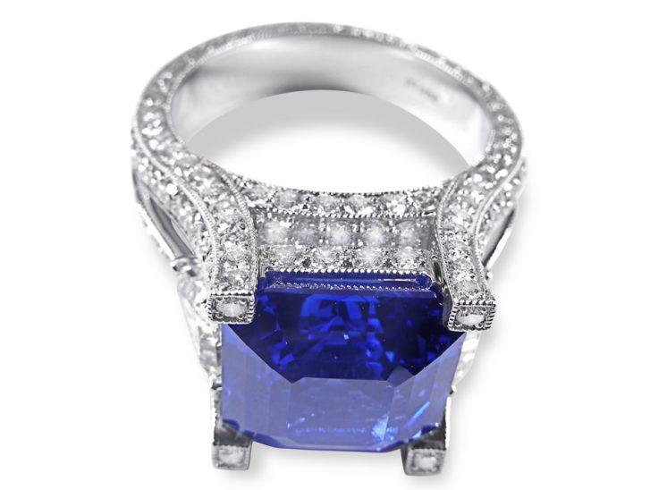 Custom Blue Sapphire Pavé Engraved Platinum Ring