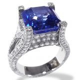 Blue Pavé Engraved Solitaire Ring