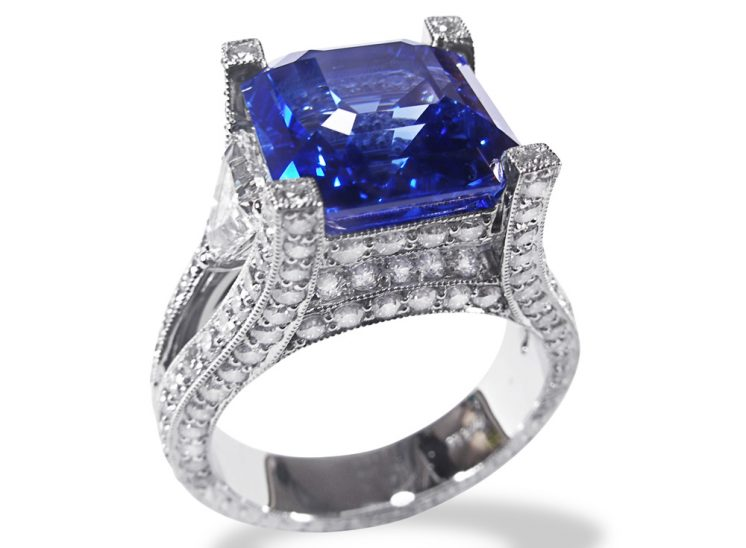 Custom Blue Sapphire Pavé Engraved Platinum Ring