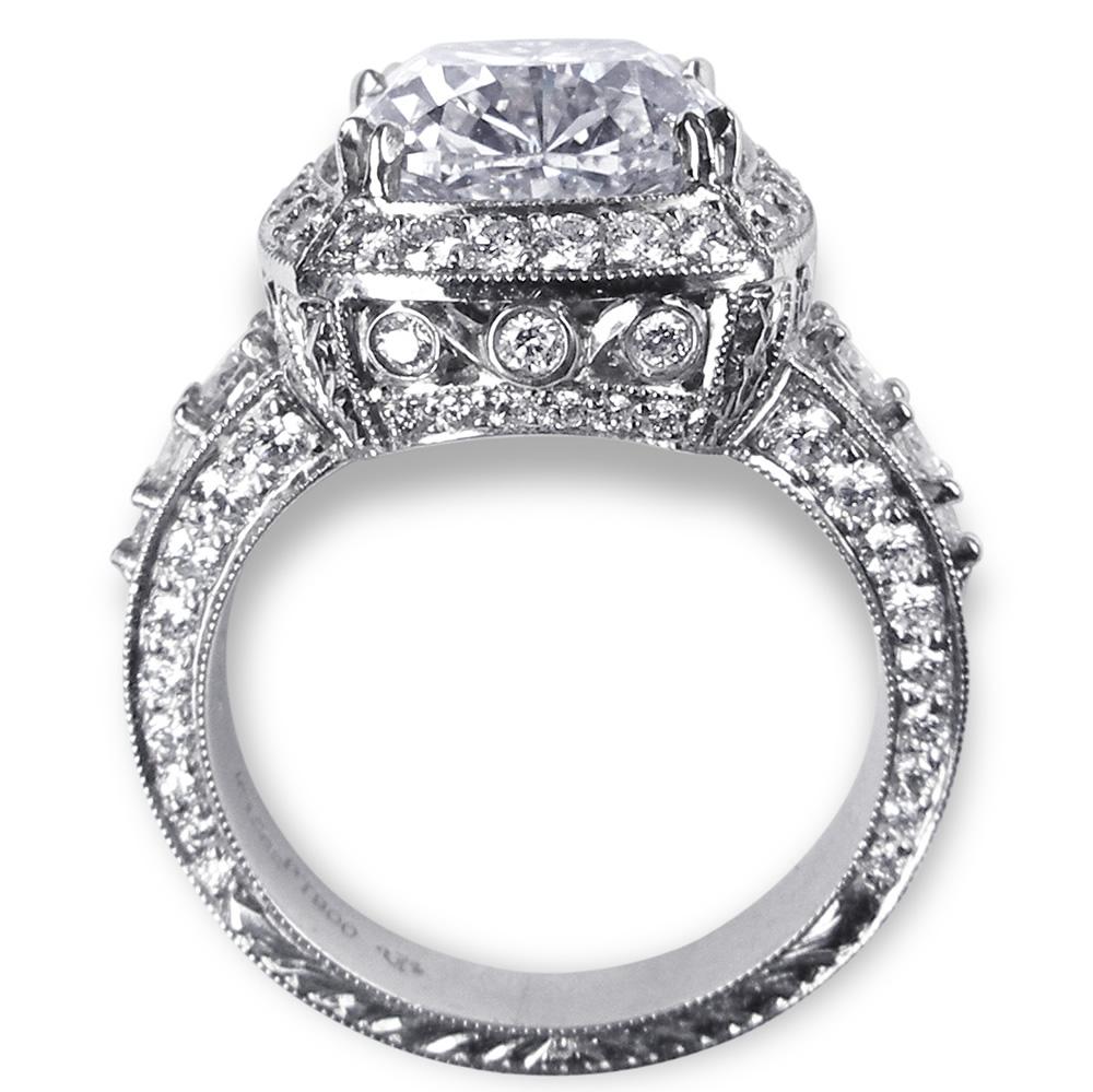 Custom Platinum Fancy Engraved Diamond Ring