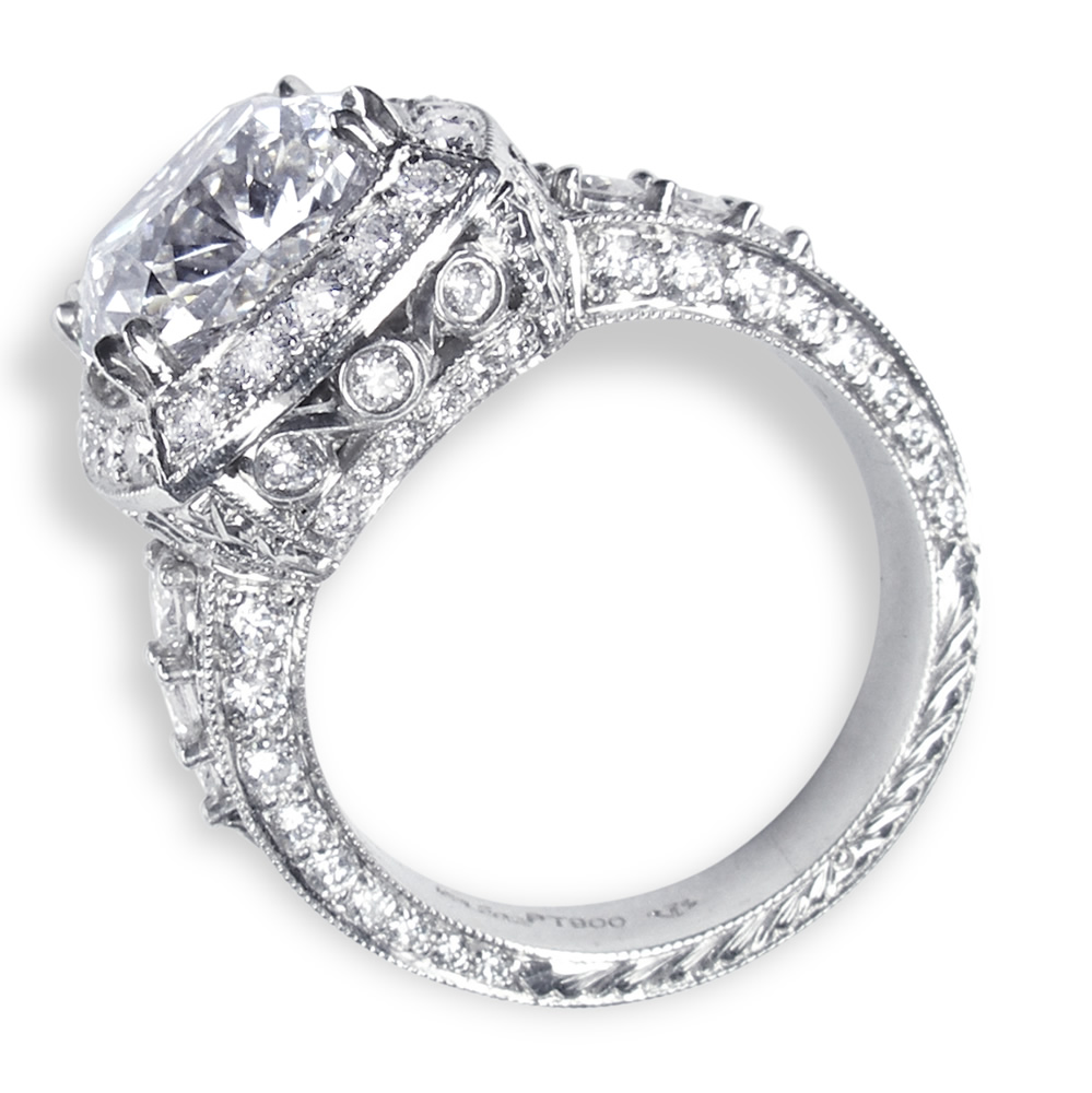 Fancy Engraving & Diamonds In Platinum