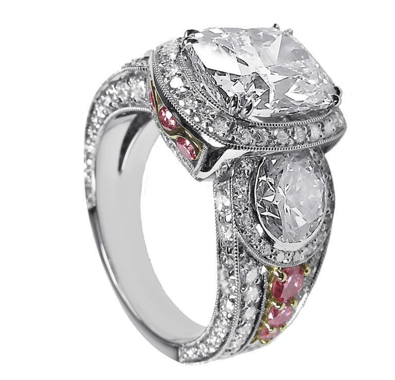 Pink Diamonds Set In Rose Gold, Diamond Pave Platinum 3 Stone Ring