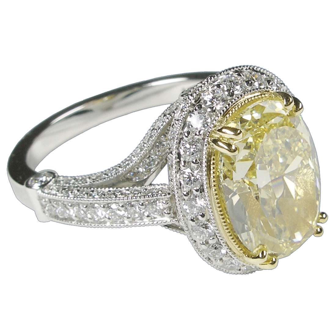 Yellow Diamond Set In Gold & Platinum