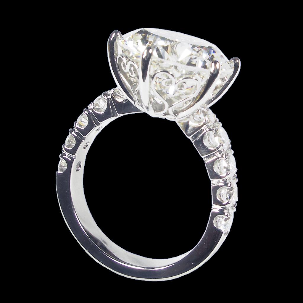 Diamond Solitaire Set In Platinum Hearts