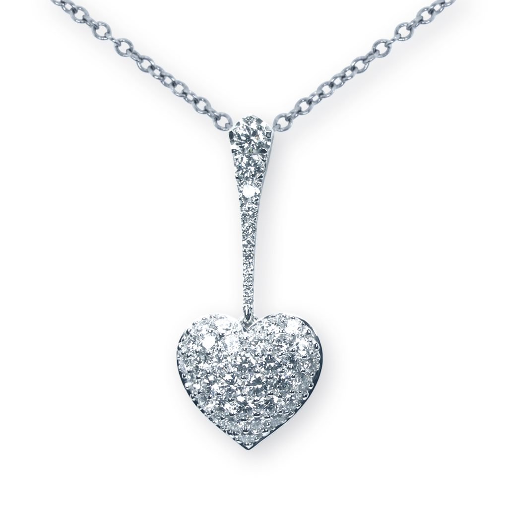 Diamond Heart Necklace, Heart Pendant