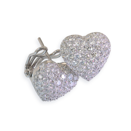 Puffed Pavé Diamond Heart Earrings Clip & Post Back Earrings