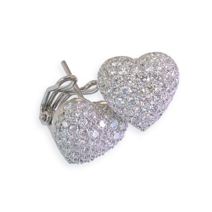 Puffed Pavé Diamond Heart Earrings Clip & Post Back Earrings