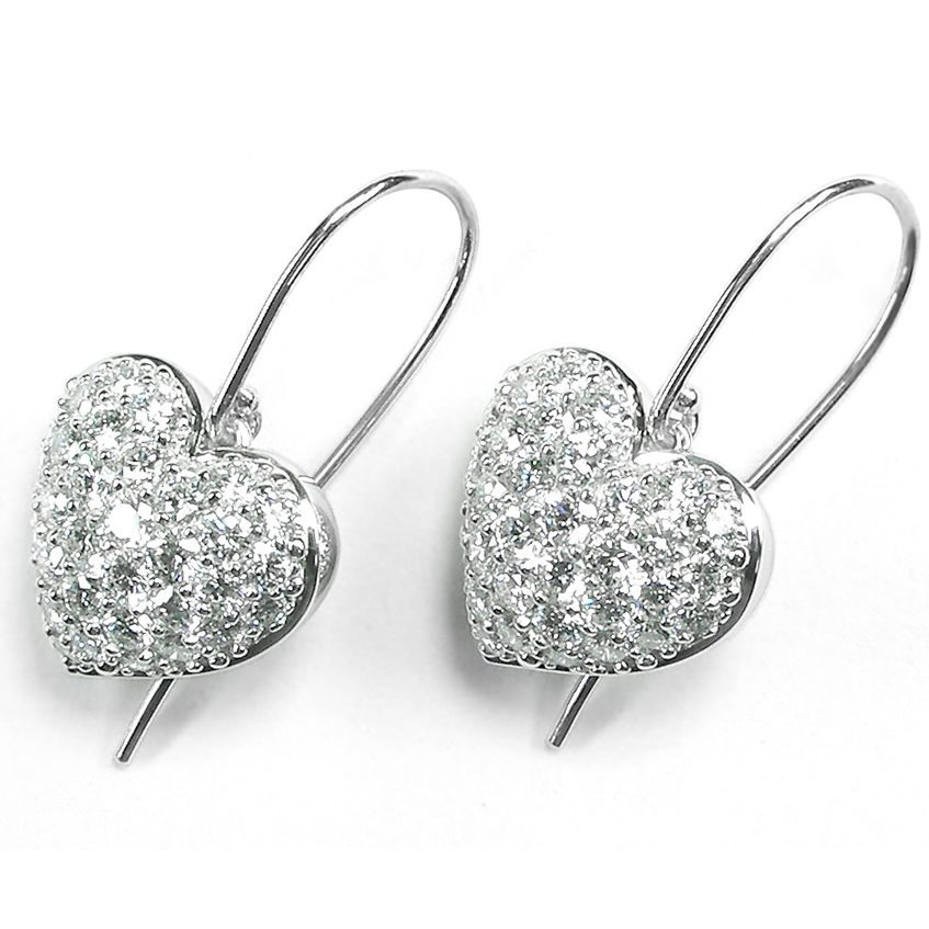 Puffed Pavé Diamond Heart French Wire Dangle Earrings