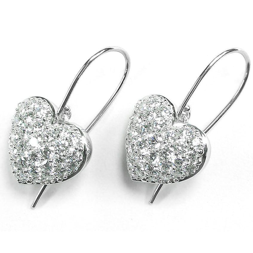 Puffed Pavé Diamond Heart French Wire Dangle Earrings