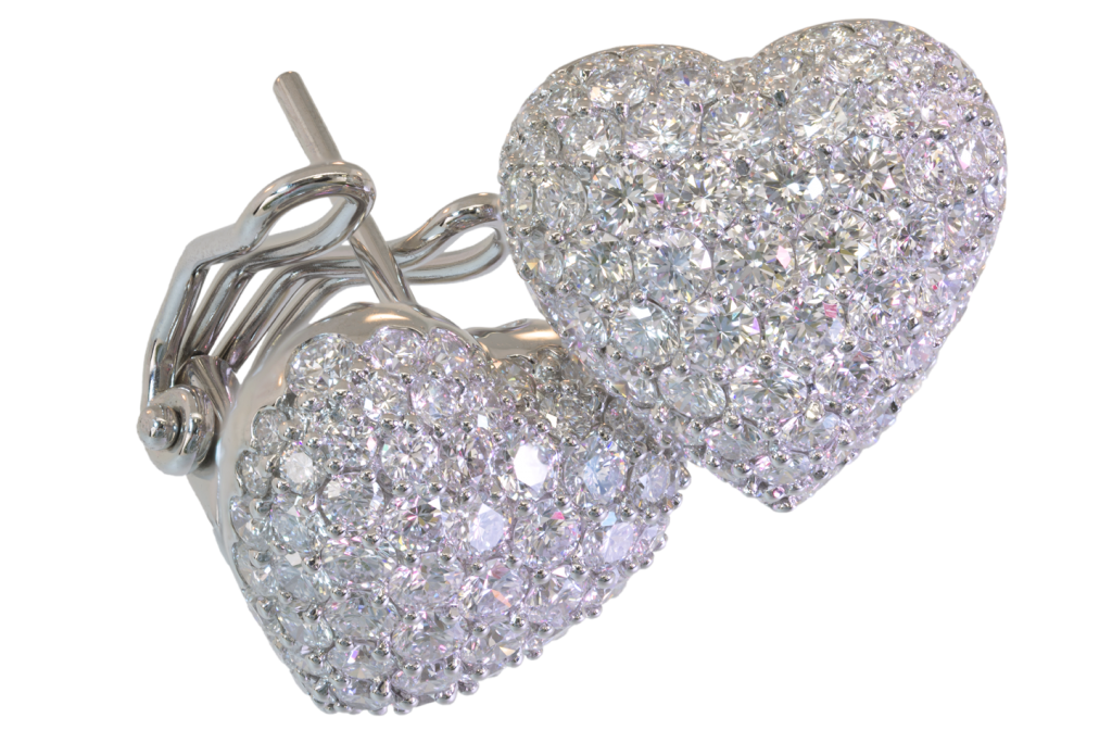 Puffed Heart Pavé set 2 Carat Diamond Earrings