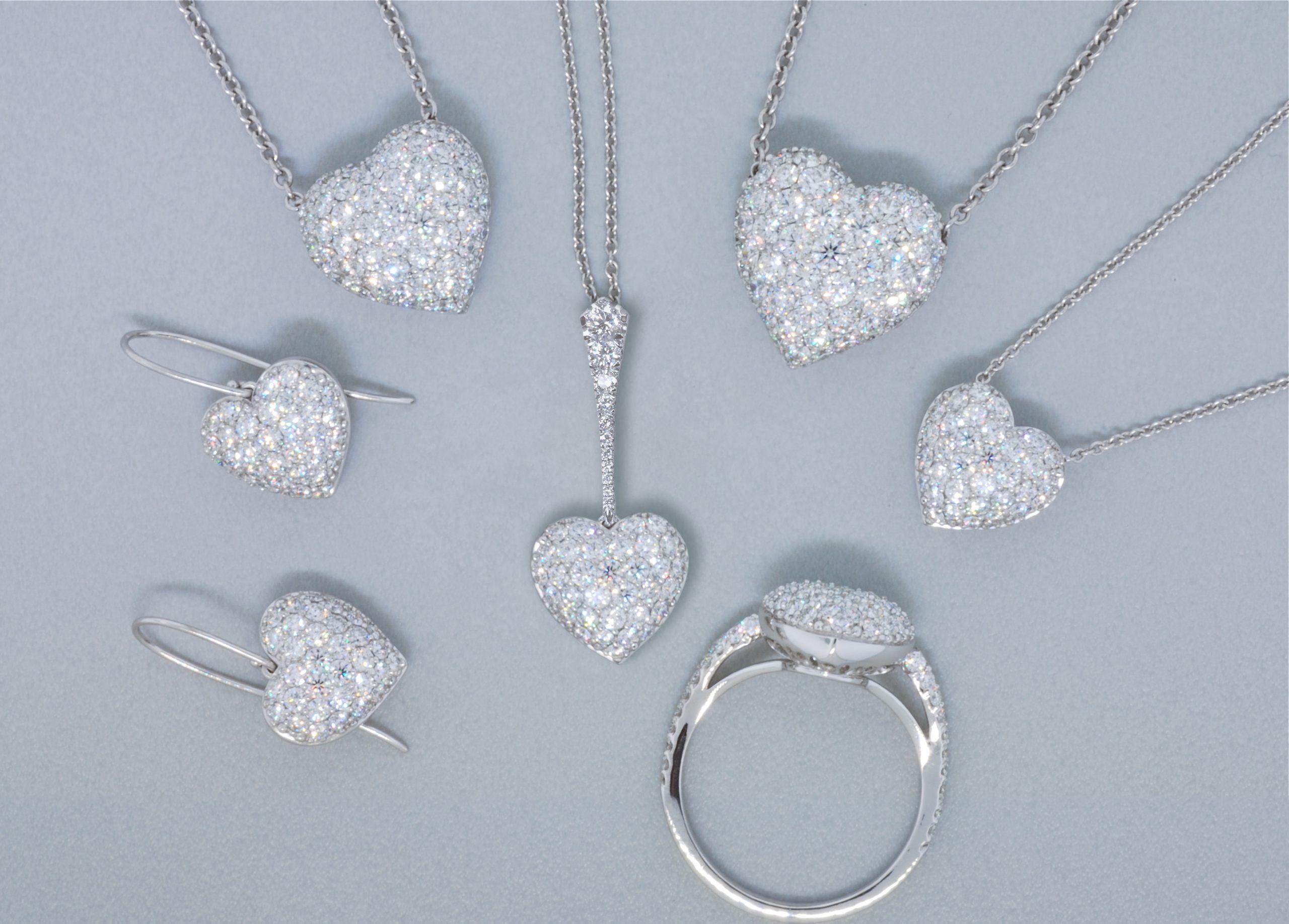 Pavé Diamond Heart Necklace Pendant Earrings & Ring