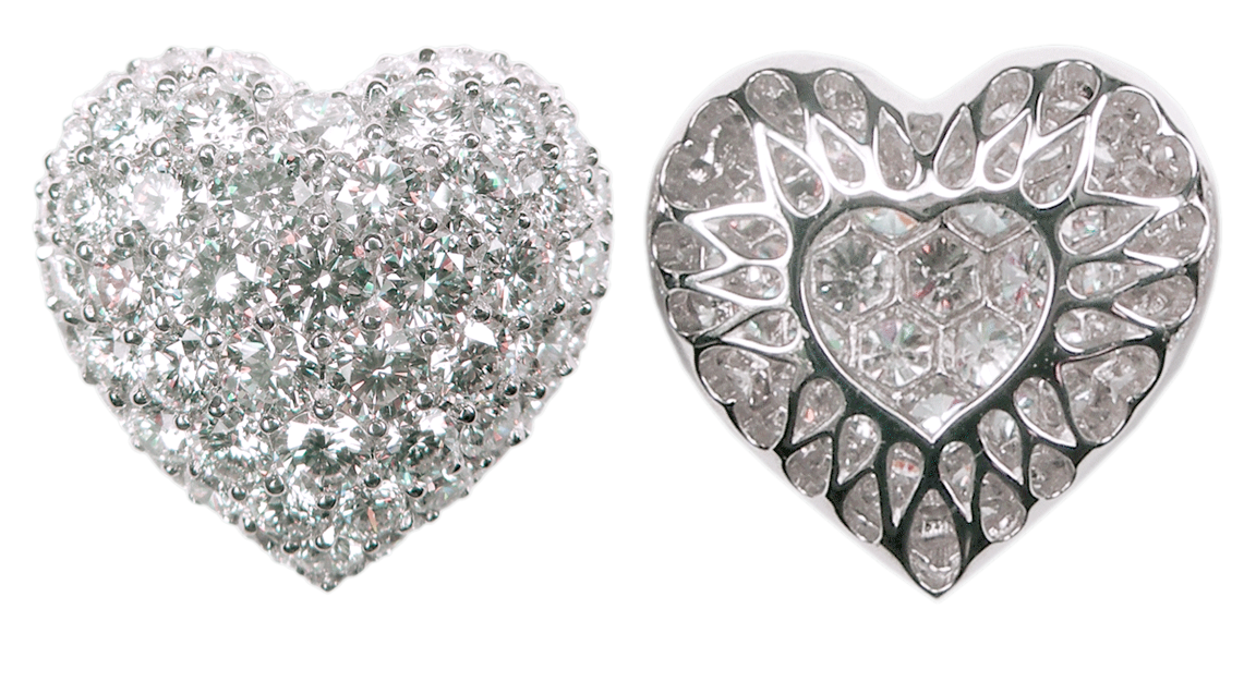 Large Puffed Pavé Diamond Heart