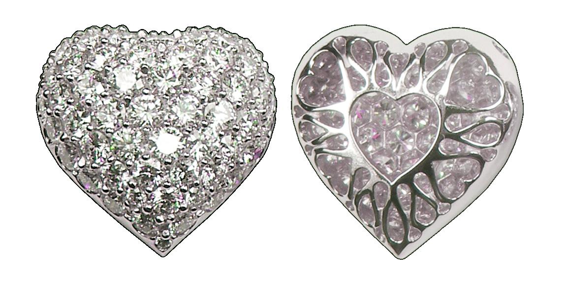 Mid-Sized Puffed Pavé Diamond Heart