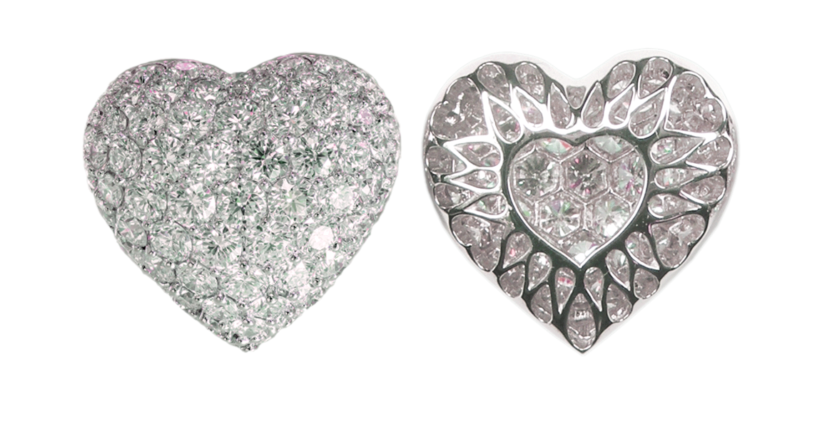 Small Puffed Pavé Diamond Heart