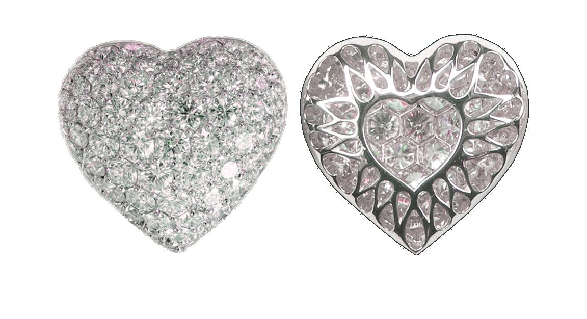 Small Puffed Pavé Diamond Heart