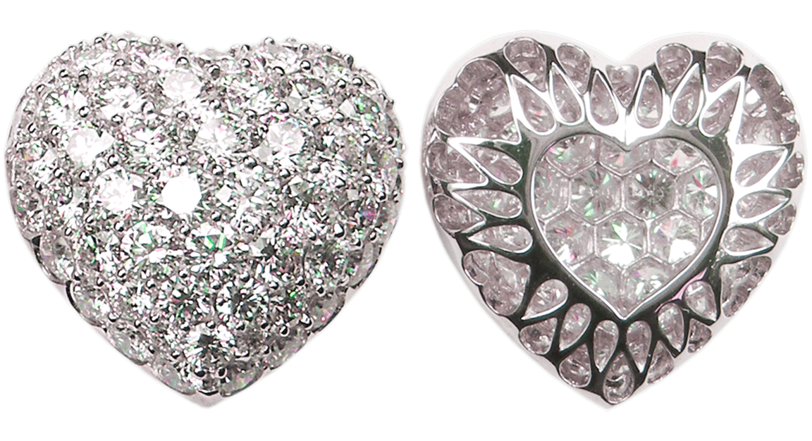 Extra Large Puffed Pavé Diamond Heart