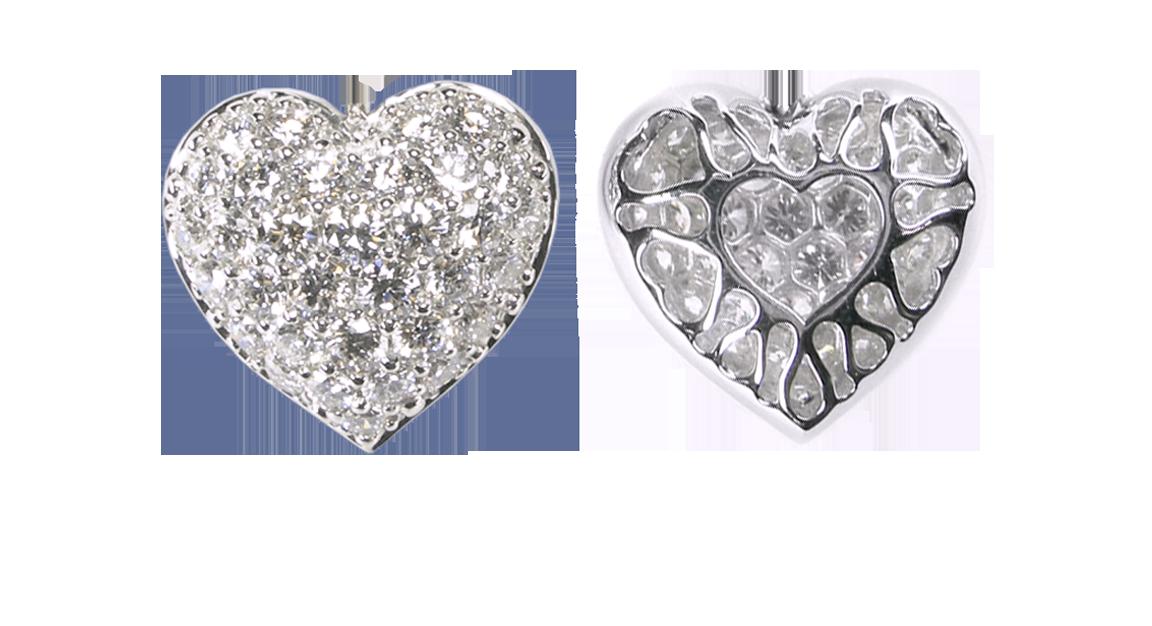Extra Small Puffed Pavé Diamond Heart